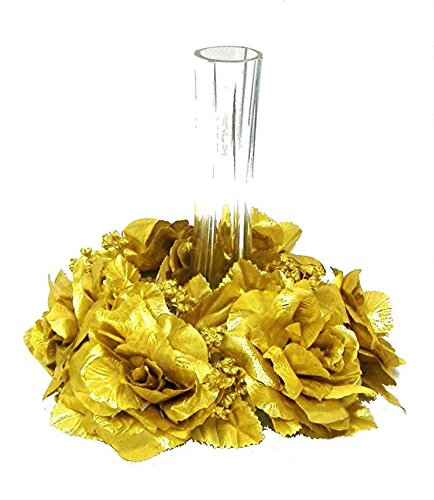 Artificial Garden 6 GOLD CANDLE RINGS Silk Flower Floral Arrangements Roses Wedding Flower Centerpiece Unity 50th Anniversary ()