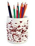 Ambesonne Horror Pencil Pen Holder, Splashes of Blood Grunge Style Bloodstain Horror Scary Zombie Halloween Themed Print, Printed Ceramic Pencil Pen Holder for Desk Office Accessory, Red White