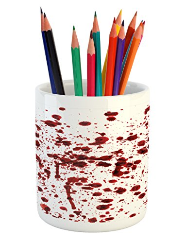 Ambesonne Horror Pencil Pen Holder, Splashes of Blood Grunge Style Bloodstain Horror Scary Zombie Halloween Themed Print, Printed Ceramic Pencil Pen Holder for Desk Office Accessory, Red White]()
