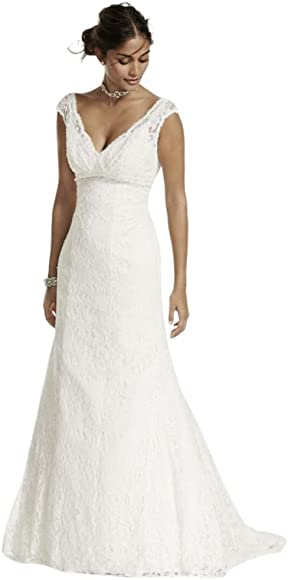 ccdb3e30 Petite Beaded Lace Wedding Dress with Cap Sleeves Style 7T9612, Ivory, 0P