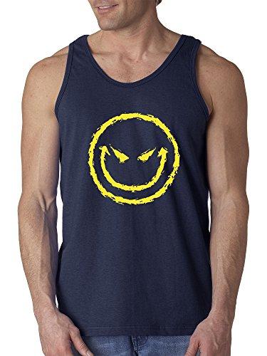 New Way 903 - Men's Tank-Top Evil Smiley Smile Emoji Face 3XL Navy