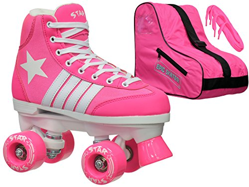 Epic Skates Epic Star Carina Pink High-Top Quad Roller Skates Package Kids Pink/White 5 by Epic Skates