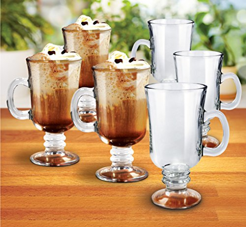 KOVOT Set of 6 Irish Coffee Mugs - Includes (6) 8-Ounce Glasses
