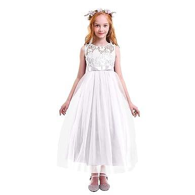 39546d3cb0c OBEEII Fille Robe Longue de Cérémonie en Dentelle Florale Élégante Robe  Princesse sans Manches de Mariage