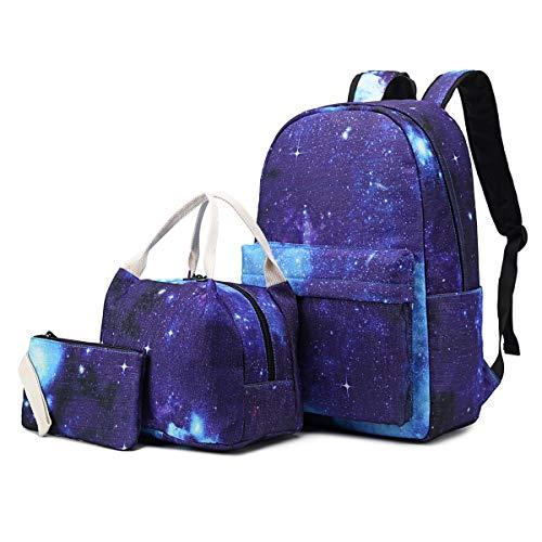 (School Backpack for Teen Girls School Bags Lightweight Kids Girls School Book Bags Backpacks Sets (02 Blue/Galaxy))