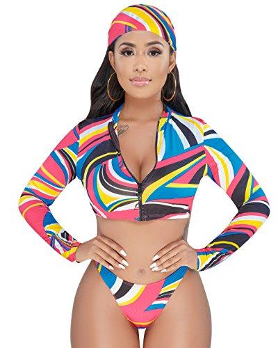 Women Sexy Floral Boho Print Long Sleeve Zipper Rash Guards Surf Bikini Set Swimsuit Multi S