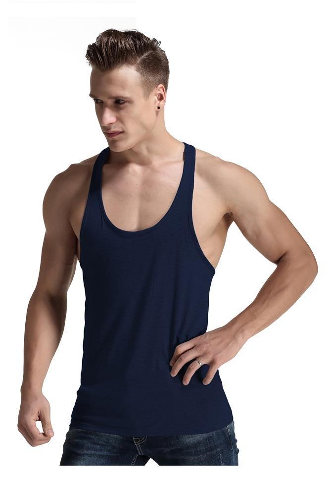 Men Fashion Blank Stringer Y Back Cotton Gym Sleeveless Shirts Tank Top (S, Navy)