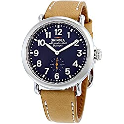 SHINOLA Runwell Blue Dial Tan Leather Men's Watch 11000144