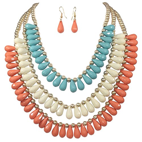 Gypsy Jewels 3 Row Layered Multi Color Beaded Necklace With Dangle Earrings Set (Peach Cream Blue)