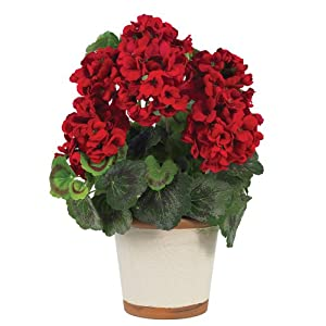 Nearly Natural 4691 Geranium Decorative Silk Plant, Red 23