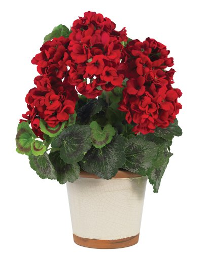 - Nearly Natural 4691 Geranium Decorative Silk Plant, Red