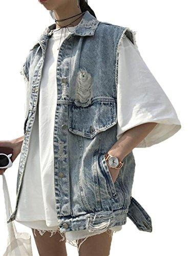 請求可能生理感心するYINUO レディース 春 秋 ノースリーブ デニム Gジャン ダメージ加工 ポケット 袖なし 無地 前開き ゆったり おしゃれ アウター