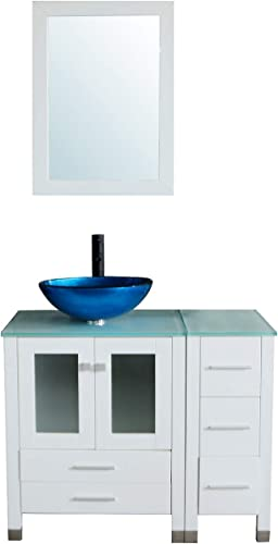 Sliverylake 36 Bathroom Vanity and Sink Combo Wood Cabinet CounterTop Tempered Glass Sink Set 10