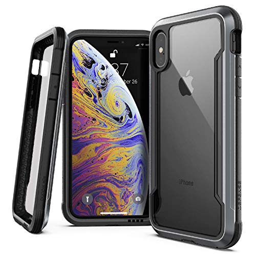 (iPhone X, iPhone Xs Case, X-Doria Defense Shield Series - Military Grade Drop Tested, Anodized Aluminum, TPU, and Polycarbonate Protective Case for Apple iPhone X, iPhone Xs, [Black] )