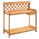 Potting Bench Outdoor Garden Work Bench Station Planting Solid Wood Construction TKT-11