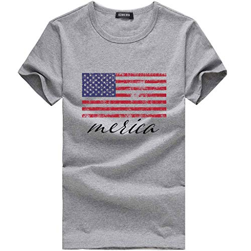 TIFENNY Women's Fashionable Loose American Flag Short-Sleeved Printed T-Shirt Top Blouse American Independence Day Shirt Gray