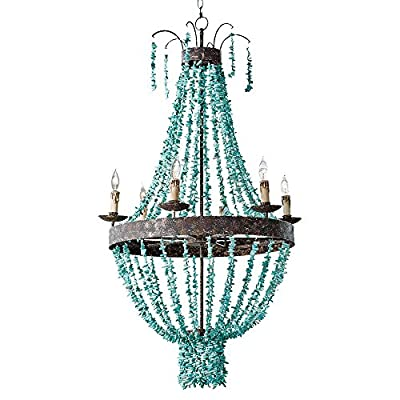 SUNWE Rustic Retro Chandelier Vintage Wrought Iron Lamps Turquoise Head Chandelier Living room Bedroom Dining Room Staircase Chandeliers (6 Light, Green)