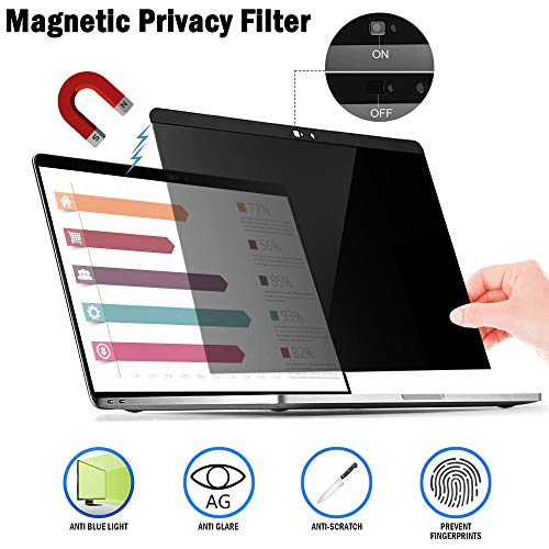 Magnetic Privacy Laptop Screen Filter for MacBook Pro 13' and 2018 MacBook Air 13, Anti Glare & Anti Blue Light Privacy Screen Filter with Webcam Cover (pro13)