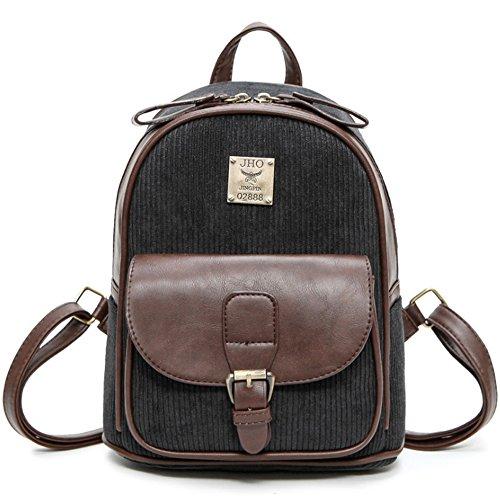 (JVP 1018-C) Material de acolchado europeo Azul marino 3way mochila bandolera populares bolso de recuperación de la escuela del viajero ocasional moda de la escuela de estilo casual Negro