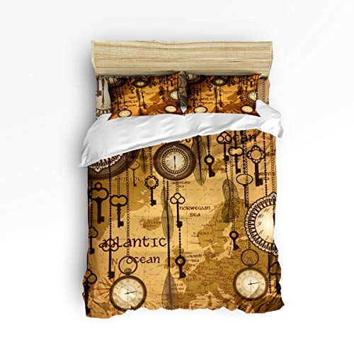 GreaBen Unique Duvet Cover Set Twill Plush Bed Sets for Kids,Retro Pattern of Antique Timepiece Pattern Bedding Sets,Include 1 Duvet Cover 1 Bed Sheets 2 Pillow Case Twin Size
