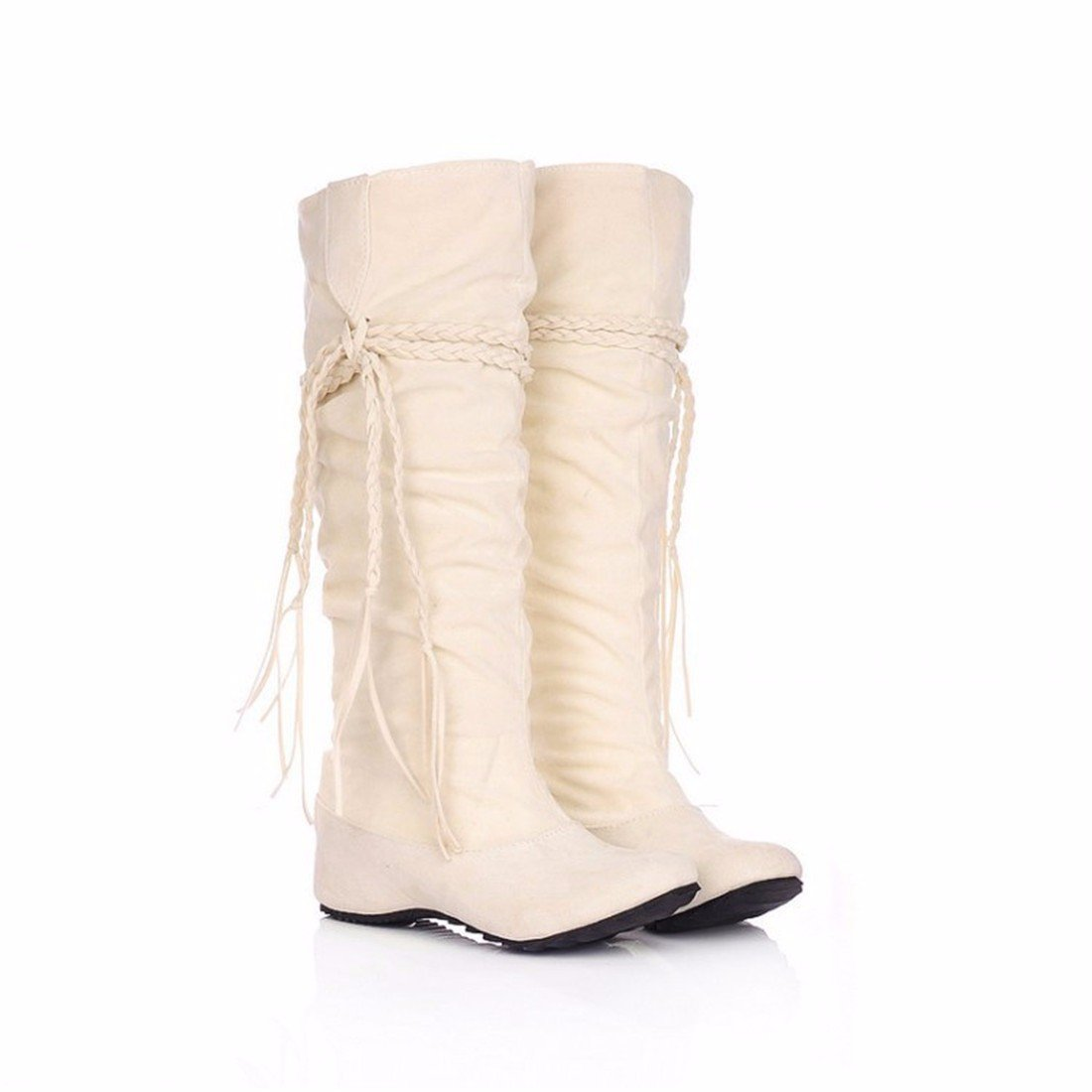 The increase in size of winter scrub fringed boots high boots students US5 / EU35 / UK3 / CN34|Beige (suede)