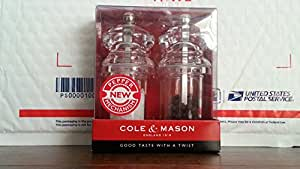 """Cole & Mason - Good Taste With A Twist - Salt Mill and Pepper Grinder - See-Through Clear (4.33"""" Tall)"""