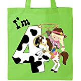 Inktastic - I'm Four-cowgirl riding horse birthday Tote Bag Lime Green 2ca06