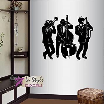 Wall Vinyl Decal Home Decor Art Sticker Jazz Band Musicians Music Instruments Bedroom Living Room Removable