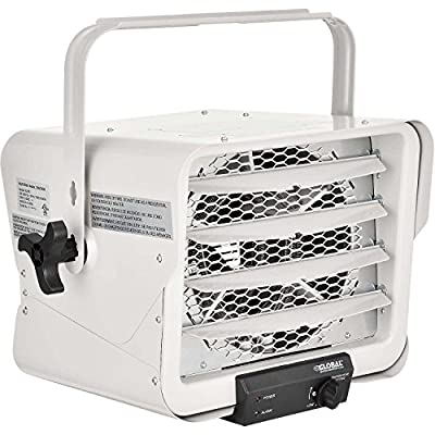 Electric Garage Unit Heater, 5000 Watt 240V-208V With Thermostat Gray, Wall Ceiling Mount