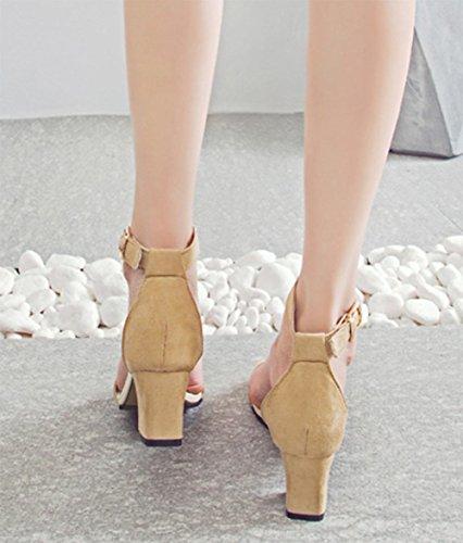 Im Sommer Sandalen mit dicken mit offenen Sandalen Wort Riemchensandalen Studenten lässig Schuhfrauensandelholze khaki