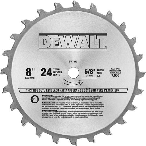 Teeth Dado Set - DEWALT DW7670 8-Inch 24-Tooth Stacked Dado Set