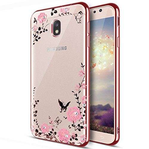 Galaxy J5 Pro Case,ikasus Pink Butterfly Floral Flower Bling Crystal Rhinestone Diamonds Clear Rubber Rose Plating Frame Soft TPU Silicone Protective Bumper Case Cover for Galaxy J5 (2017) DUOS ()