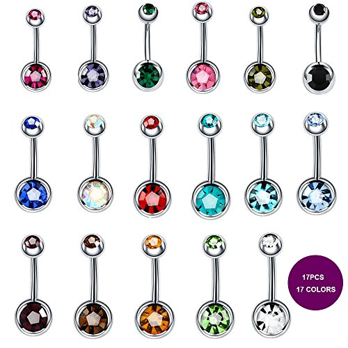 BeautyTime 17pcs Assorted Colors Belly Button Ring Titanium Surgical Steel Hypoallergenic Lead and Nickel Free,14g Navel Piercing Czech Diamond Body Jewelry