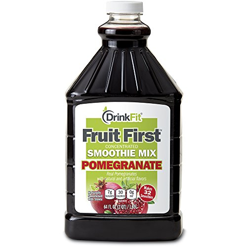 Fruit Soy Smoothie - DrinkFit Blender Smoothie Mix - Concentrated Real Fruit Puree - Low Calorie Stevia - Vegan Kosher, Gluten Soy Lactose Fat Free - 64 oz Bottle (Pomegranate)