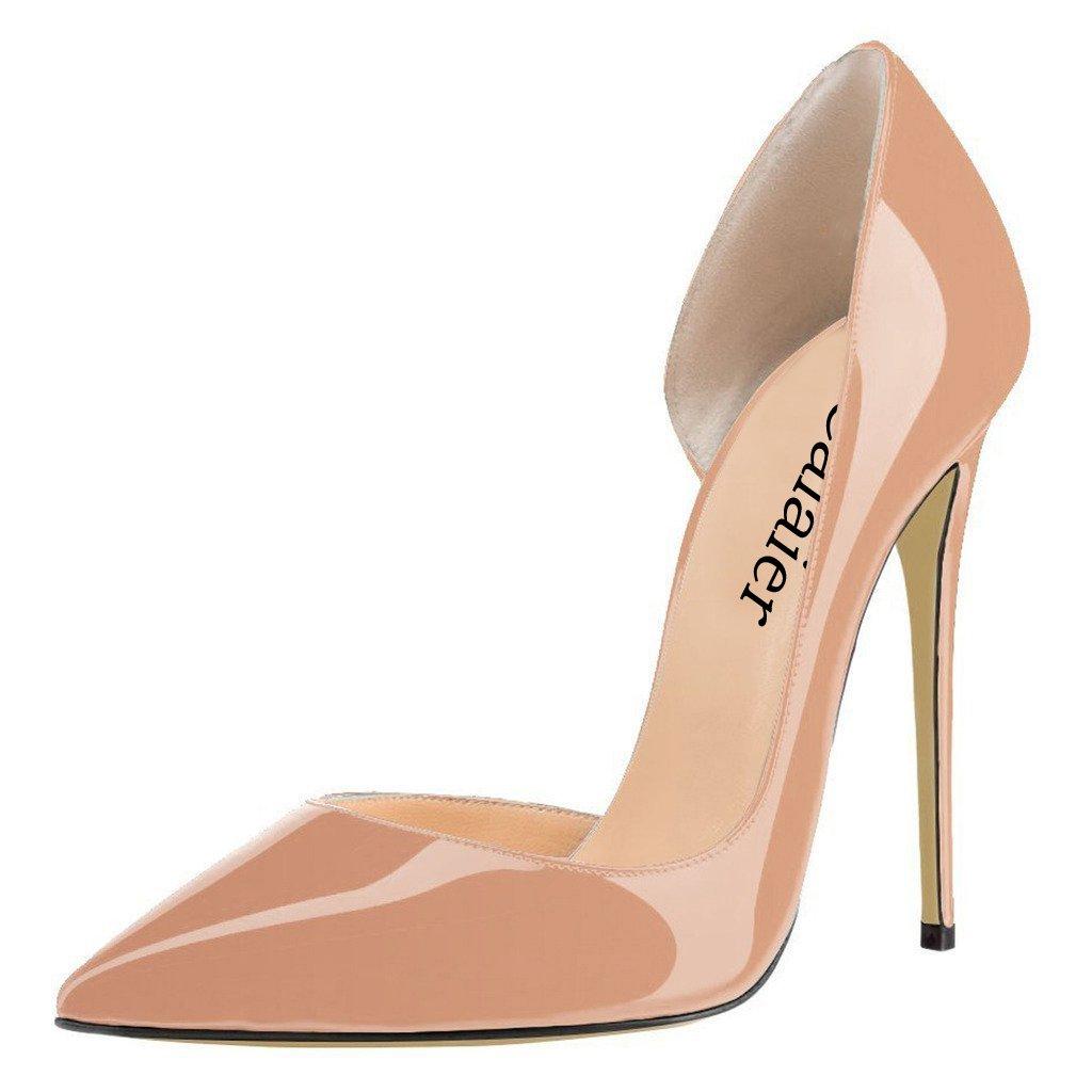 Calaier Mujer Cabecause Tacón De Aguja 12CM Sintético Ponerse Zapatos de tacón 39.5 EU|Beige