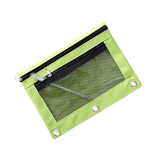 Funny live B5 Size Double Zipper 2 Pocket Pencil Bag, Transparent Mesh File Pouch Case, Zip Binder Pencil Bags Pencil Cases with Rivet Enforced Hole 3 Ring (Green) (Oxford Zipper Binder Pocket)