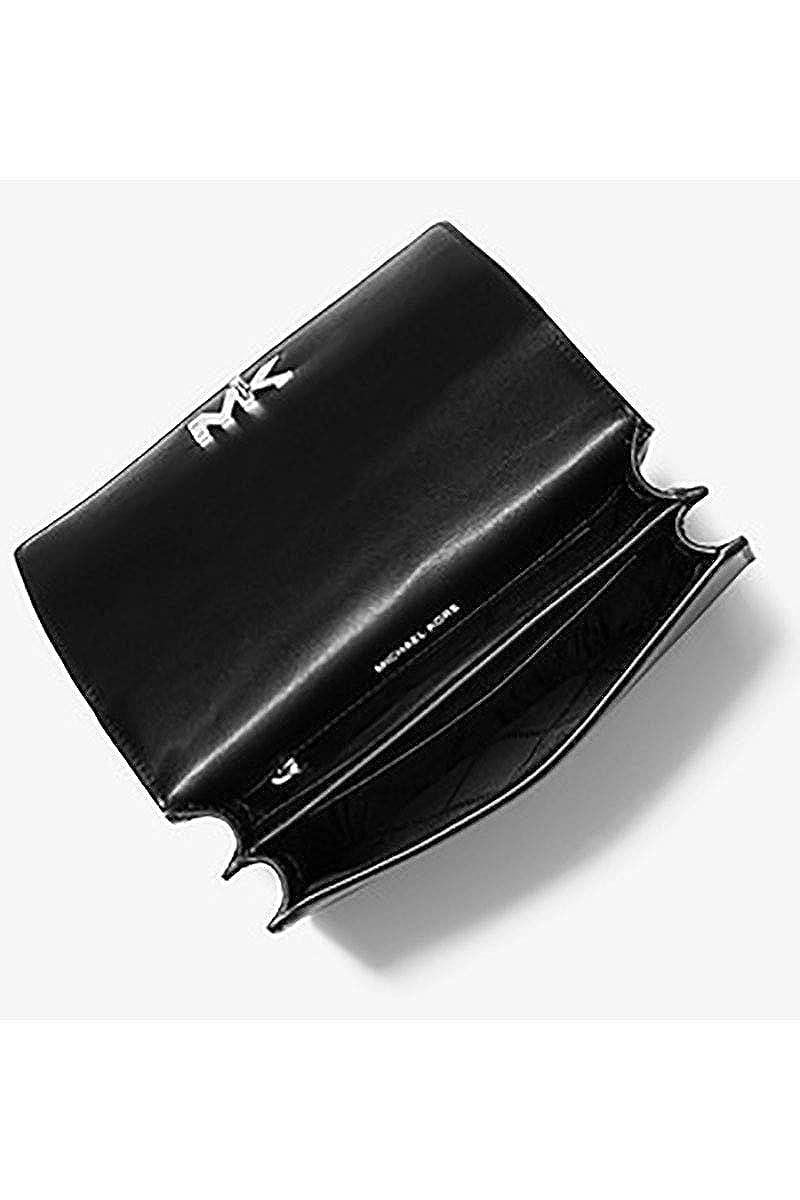 05c8ca9ec22d7b Michael Kors Mott Large Metallic Deco Leather Crossbody BLK/SILVER: Handbags:  Amazon.com