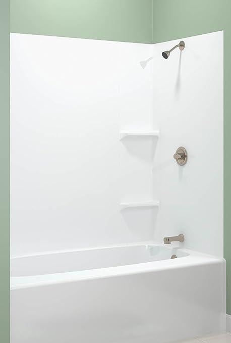 ASB TEMP203A Tempo Tub Wall, White, 5-Piece - Bathtub Walls
