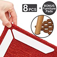 niDo Rug Grippers - 8 pcs Carpet Tape Corners - with Bonus Furniture Pads - Anti Slip Reduce Rug Curl and Slide – Strong Renewable Adhesive – Area Rug for Office and Home Floors