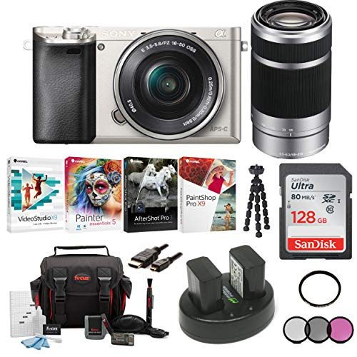 Sony Alpha a6000 Mirrorless Camera w/ 16-50mm & 55-210mm Lenses & 128GB Bundle - Silver