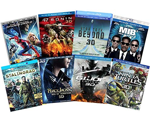 Ultimate Action & Adventure 8-Movie Blu-ray 3d Collection: Amazing Spider-Man 3 / Men in Black 3 / Percy Jackson: Sea of Monsters / 47 Ronin / Star Trek: Bey/ Stalingrad / TMNT / G.I. Joe: Retaliation (Gi Joe The Movie Blu Ray)