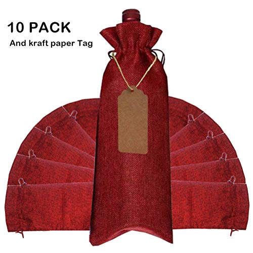 s,10Pack Wine Gift Bag with Drawstring for Wedding,Birthday,Travel,Housewarming and Dinner Party (Red) ()