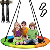 Trekassy 700 lb Saucer Tree Swing for Kids Adults 40 Inch 900D Oxford Waterproof Frame with 2 Hanging Straps - Rainbow