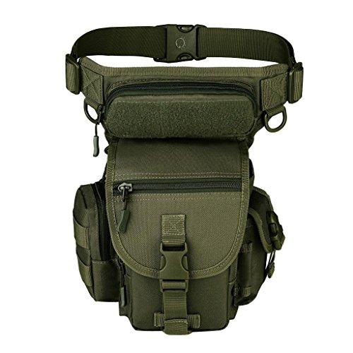 MonkeyJack Men Drop Leg Bag Military Thigh Panel Utility Waist Belt Pouch Bags Bike Cycling Hip Bag - Army Green