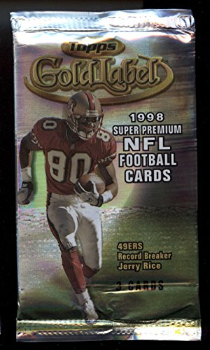 1998 Topps Label Gold (1998 Topps Gold Label UNOPENED Football Pack PEYTON MANNING Rookie? Class 3 Red)