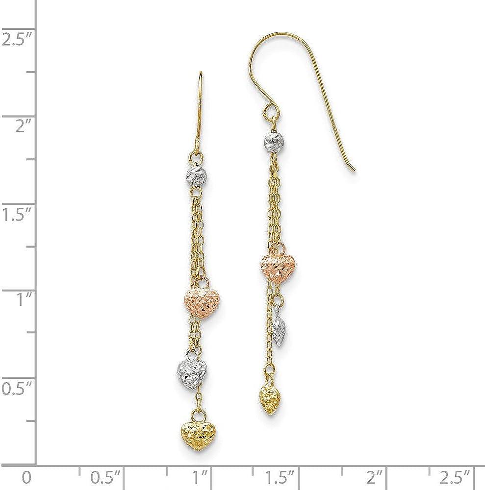 Mia Diamonds 14k GoldTri-color Diamond-Cut Triple Heart Dangle Shepherd Hook Earrings