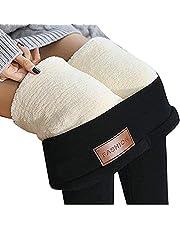 Lamslegging voor dames, lamswolenbroek, super hoge taille, hoge taille, warme elastische broek (80-100 je) zwart.