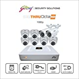 Godrej Security Solutions Octra HD 1080p 1.3MP 8-Channel DVR with 2 Bullet and 6 Dome Cameras (White)