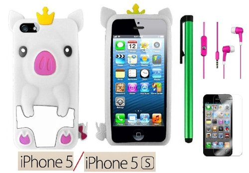 Apple Iphone 5S or Apple Iphone 5 Accessories - Premium Cute Animal Design Soft Protector Cover Case + Screen Protector Film + 3.5MM Stereo Earphones + 1 of New Assorted Color Metal Stylus Touch Screen Pen (WHITE PIG)