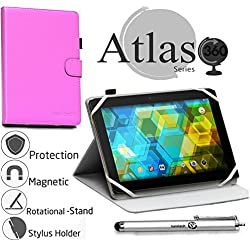 "Navitech Purple 360 Rotational Case Cover For Fire Tablet with Alexa, 7"" Display, 8 GB, Purple, Purple, Magenta, Tangerine"